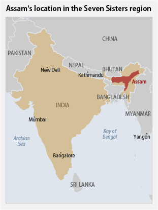 Assam's location in the Seven Sisters region