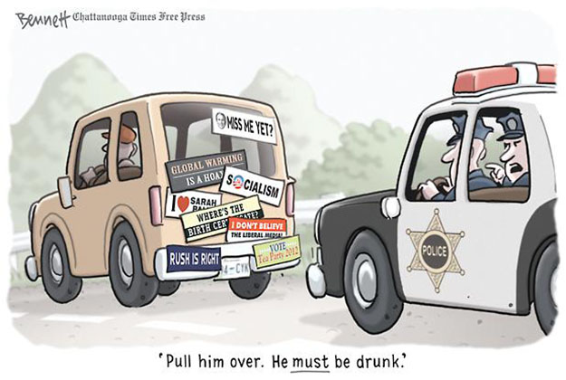 He must be drunk cartoon of tea party bumper stickers on old car