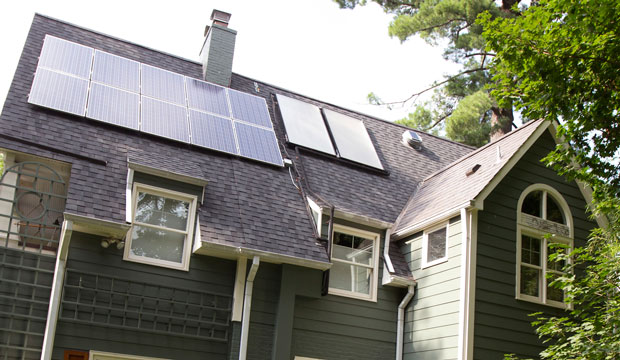 SOURCE: AP/Manuel Balce Ceneta This house owned by Ketch Ryan of Chevy Chase, Maryland, has solar panels installed on the roof.